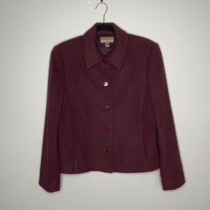 Manelli maroon cashmere wool single breasted button collared blazer jacket 10